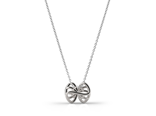 Infinity knot pendant in Fine Detail Polished Silver