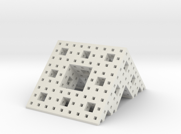 Menger roof (3 iterations) in White Natural Versatile Plastic