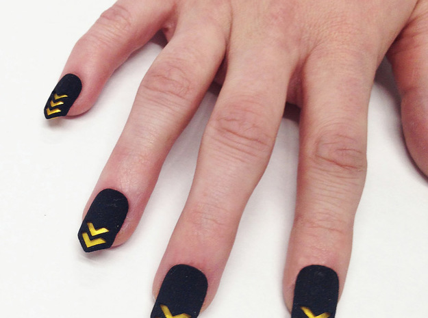 Chevron Nails (Size 1) 3d printed With painted nail underneath