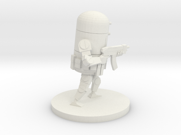 Retro Robot Rifle Pose A in White Natural Versatile Plastic