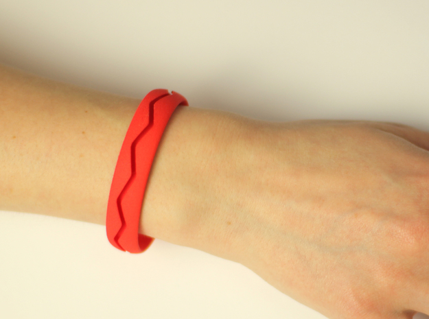 Bracelet02-zigzag in Red Strong & Flexible Polished
