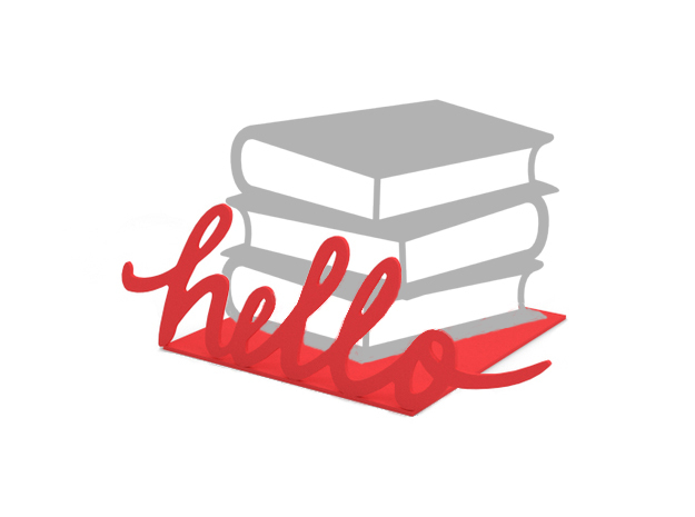 "Bookend ""Hello"" in Red Strong & Flexible Polished"