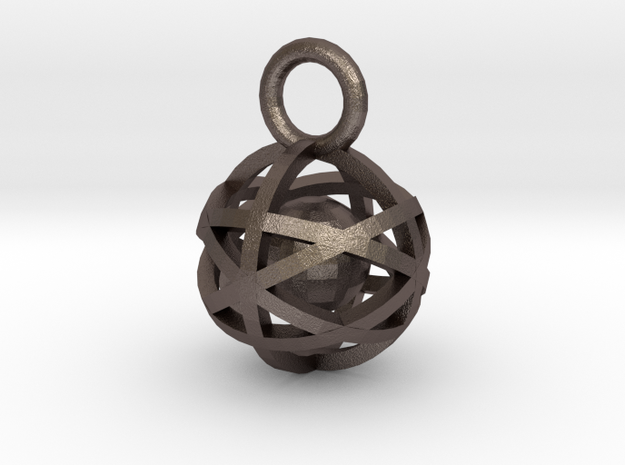Charm: Hollow Sphere with Ball 1 in Polished Bronzed Silver Steel