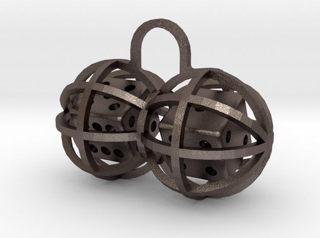 Charm: Lucky Balls in Polished Bronzed Silver Steel