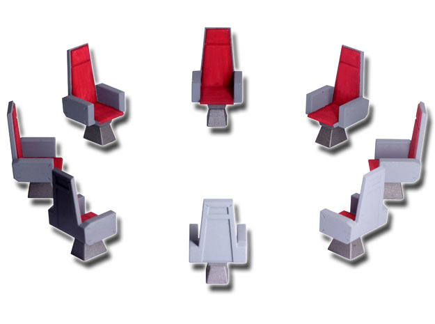 M.A.S.K. Energy Room - All 8 chairs in White Processed Versatile Plastic