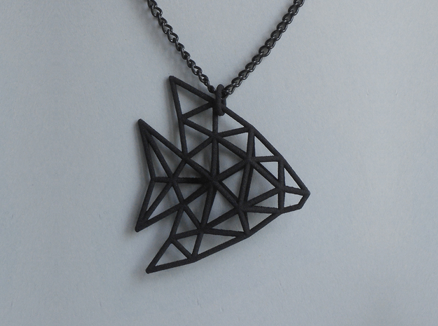 Angel Fish pendant in Black Strong & Flexible