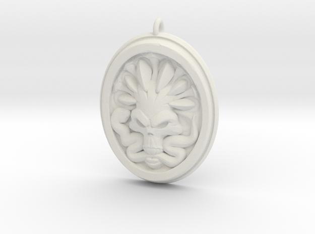 Skull and Snake Pendant 01 - 40mm in White Natural Versatile Plastic
