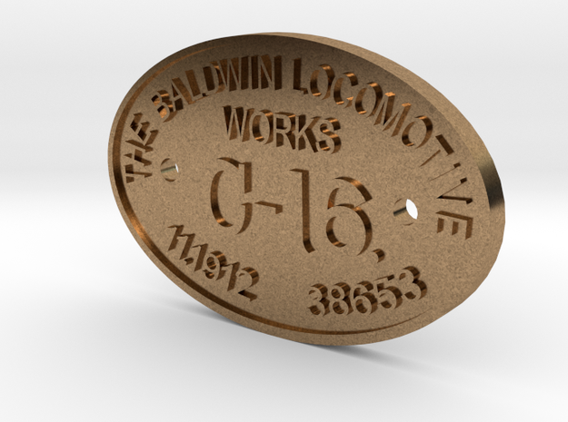 """3/4"""" Scale C-16 Builders Plate in Natural Brass"""
