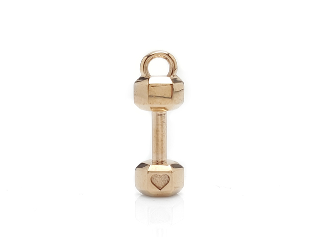 Mini Dumbbell charm with Heart Detail in Polished Bronze
