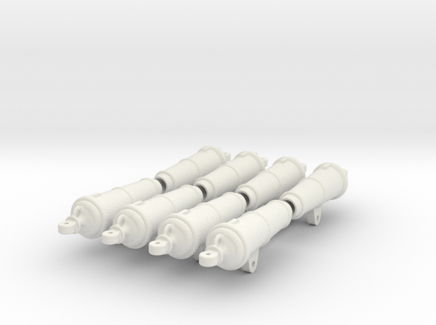 Set of 8 XIX century Royal Navy 18 Lb Carronades i in White Natural Versatile Plastic