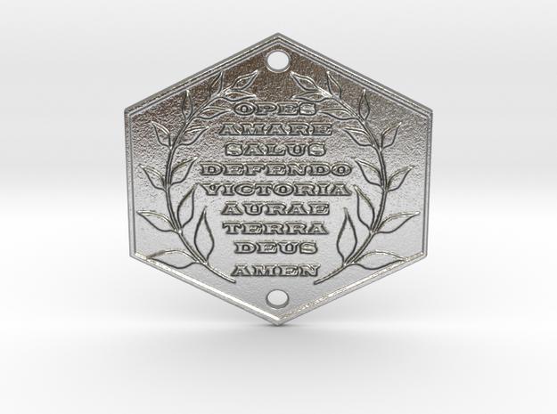 Words of Power & Blessings in Latin Door Plaque in Raw Silver