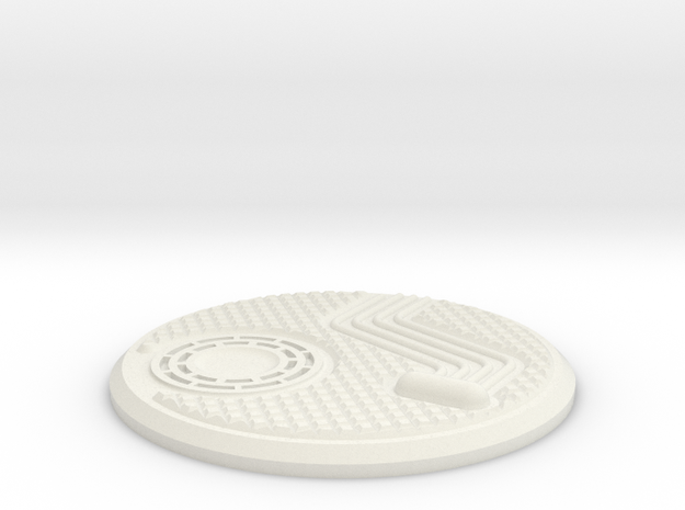 55mm Industrial Sci-Fi Base Plate in White Natural Versatile Plastic