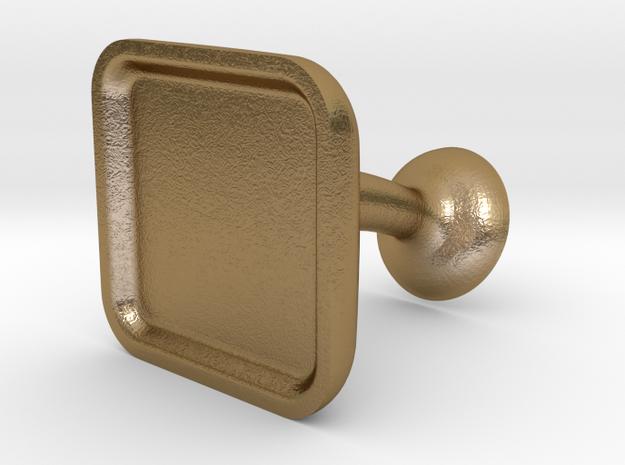 Custom Cufflink #02 - Square in Polished Gold Steel