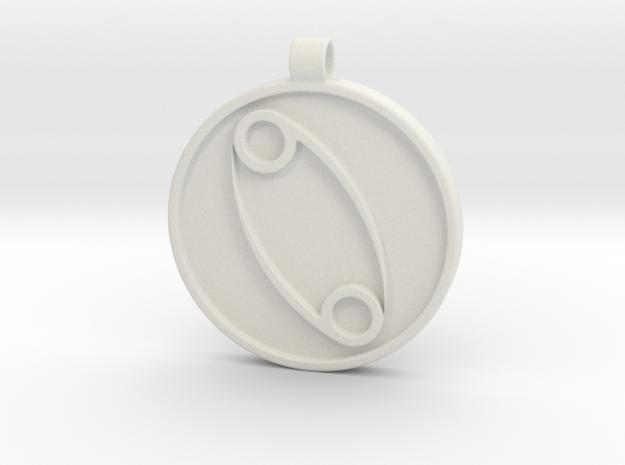 Zodiac KeyChain Medallion-CANCER in White Natural Versatile Plastic