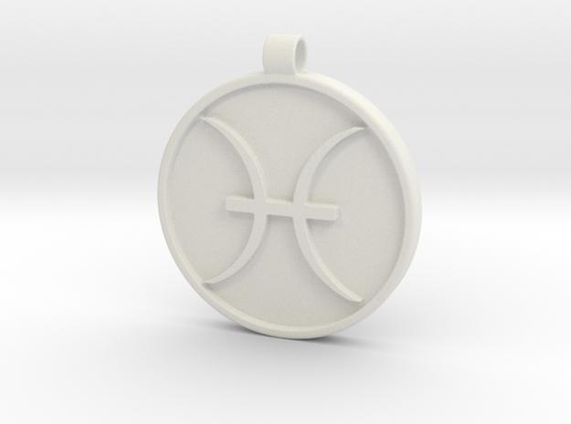 Zodiac KeyChain Medallion-PISCES in White Natural Versatile Plastic