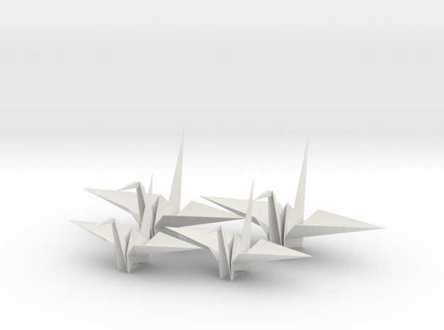 Four Fold Origami Crane - Two Scales. in White Natural Versatile Plastic