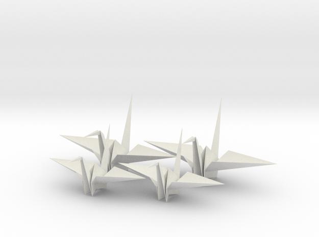 Four Fold Origami Crane - Two Scales. in White Natural Versatile Plastic