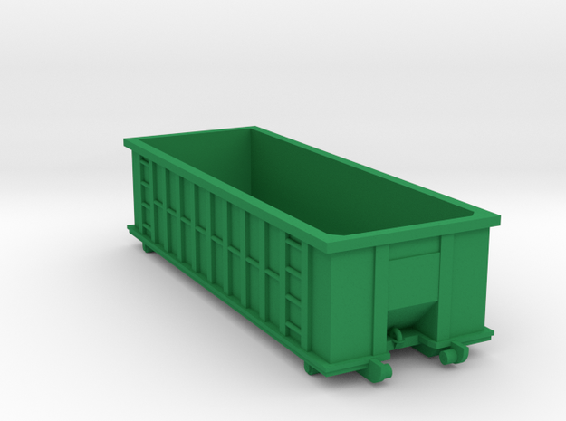 Industrial Dumpster 30yd - HO 87:1 Scale in Green Processed Versatile Plastic