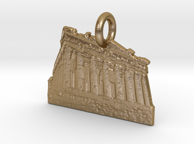Acropolis, Athens, Greece Charm in Polished Gold Steel