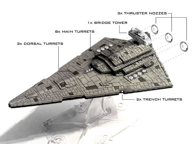 (Armada) Imperial Star Destroyer I Mod Kit in Smooth Fine Detail Plastic