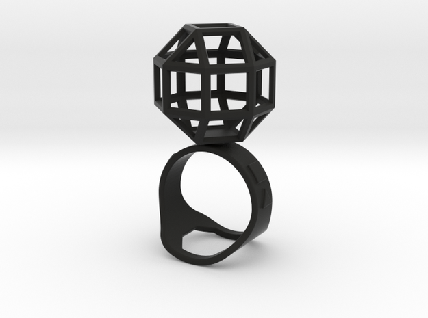 The Ring of the Rhombicuboctahedro in Black Natural Versatile Plastic
