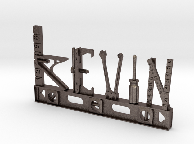 Kevin Nametag in Polished Bronzed Silver Steel