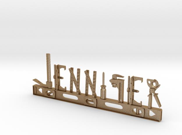 Jennifer Nametag in Matte Gold Steel