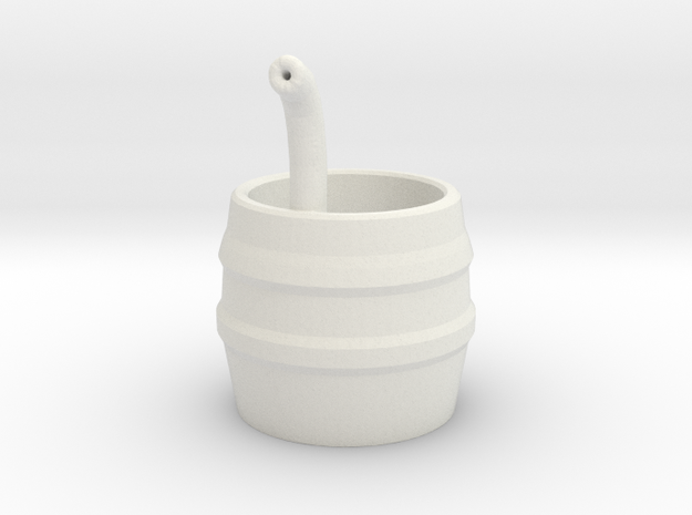 Barrel with Pipe in White Natural Versatile Plastic