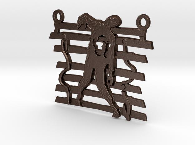 Zombie On A Fence Pendant  in Matte Bronze Steel