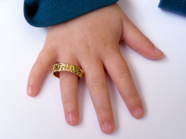 A maze ring 3d printed Gold Plated Brass