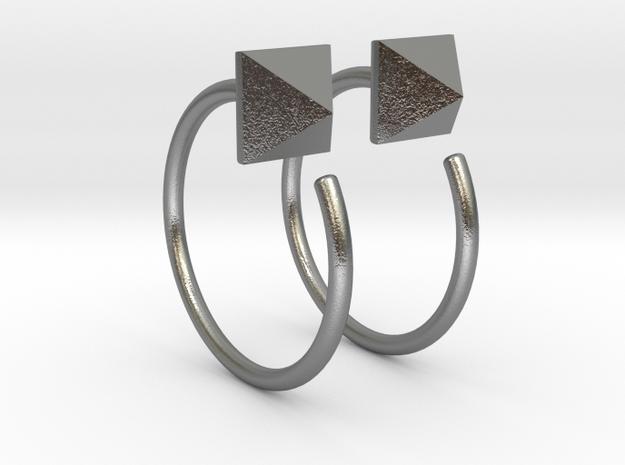 Pyramid Stud Mini Hoops in Raw Silver