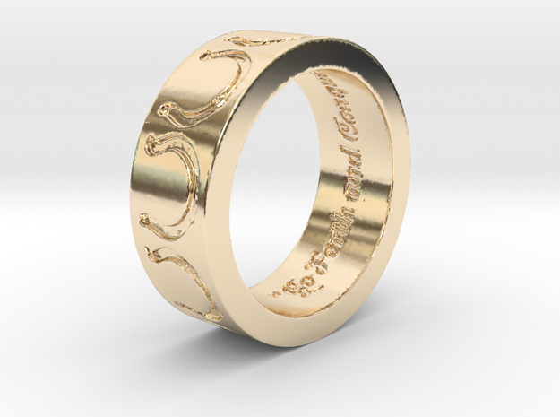 """Go Forth and Conquer"" Ring  in 14k Gold Plated Brass: 5.25 / 49.625"