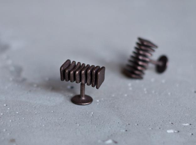 Cufflinks Free Form in Polished Bronze Steel
