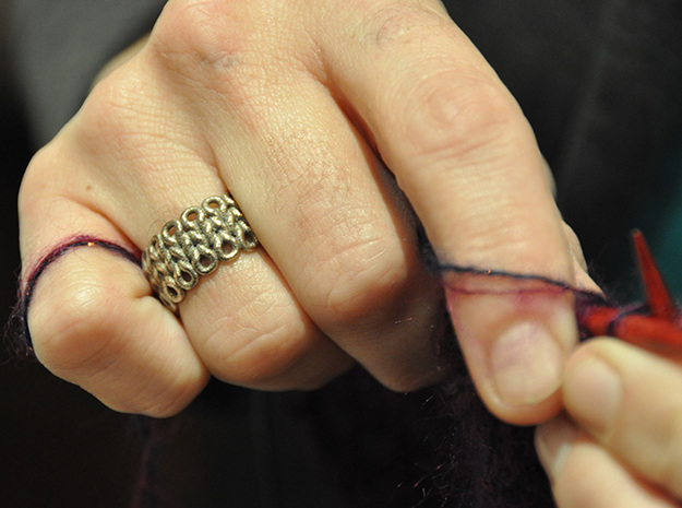Knitter's Ring (59mm) 3d printed The ring in stainless steel adorning the hands of the World's Greatest Knitter.