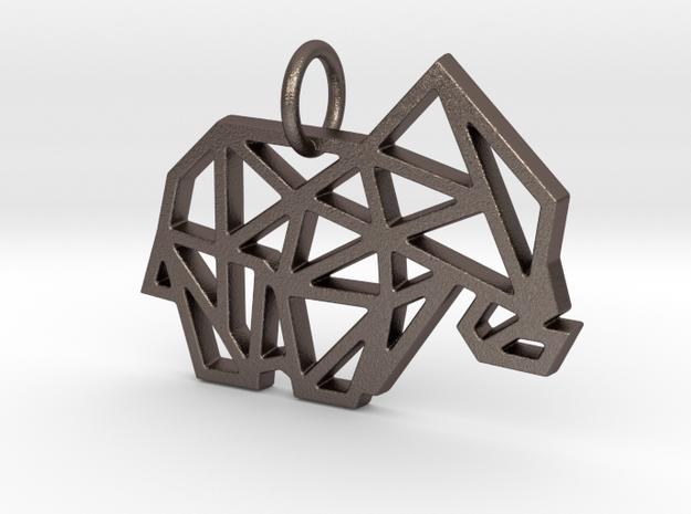 Geometric Elephant Keychain in Polished Bronzed Silver Steel