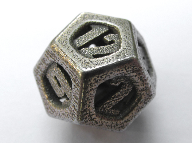 Thoroughly Modern Die12 in Polished Bronzed Silver Steel