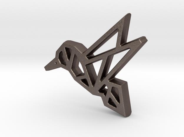 Geometric Hummingbird Pendant  in Polished Bronzed Silver Steel