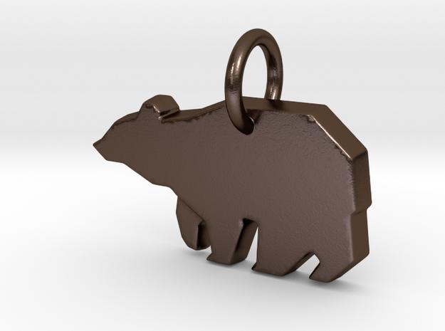Bear Pendant in Polished Bronze Steel