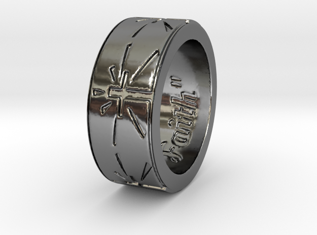 """""""Faith"""" Ring  in Fine Detail Polished Silver: 6 / 51.5"""
