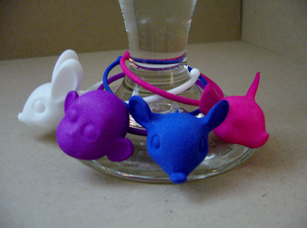 Little Pig Wine Glass Charm 3d printed Four Wine Glass Charms - Bunny, Monkey, Mouse, Pig