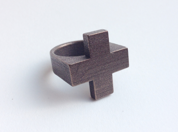 Plus Ring   3d printed Antique Bronze Glossy Steel