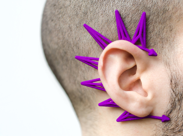 Unusual earcuff in Purple Processed Versatile Plastic
