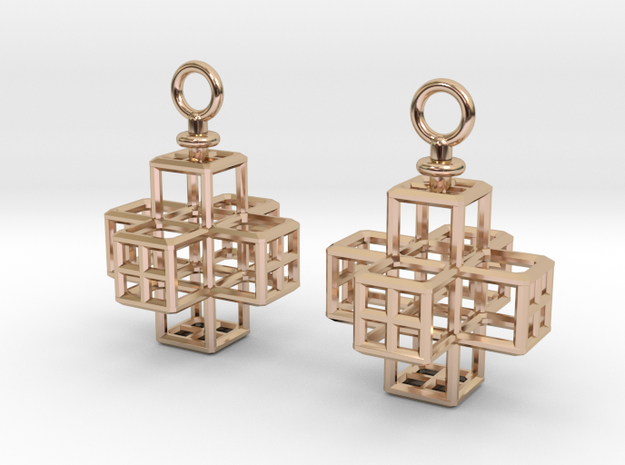 Cube-Cross Earrings in 14k Rose Gold Plated