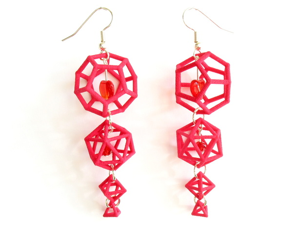 Platonic Progression Earrings - Clean 3d printed An example of these earrings made fancy, with heart-shaped beads added as well as earwires