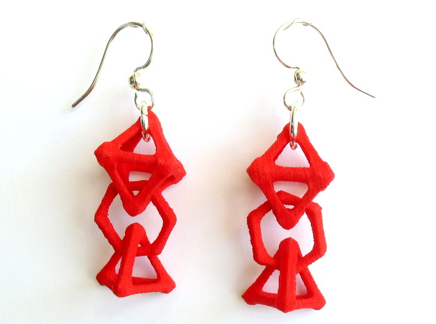 Baby Platonic Solids Earrings, bone style in Red Processed Versatile Plastic