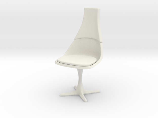 """TOS Chair 115 1:12 Scale 6"""" in White Natural Versatile Plastic"""