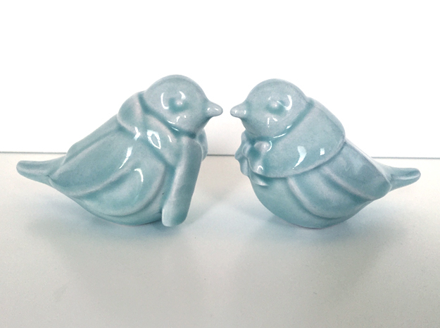 Winter Love Birds in Gloss Celadon Green Porcelain