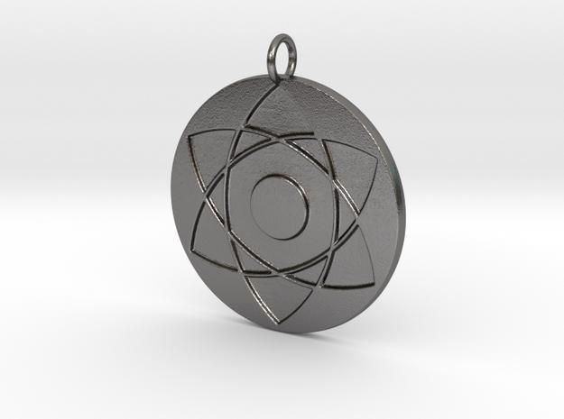 3D Eyes Pendant in Polished Nickel Steel