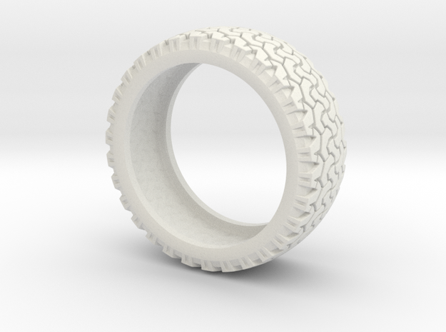 Tire Band ring in White Natural Versatile Plastic