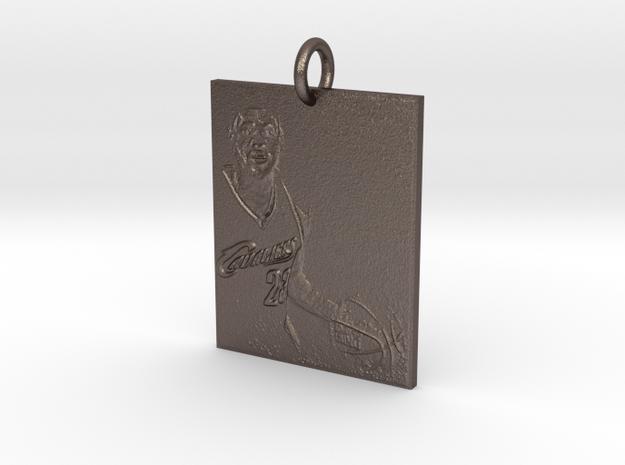 LbJ Pendant in Polished Bronzed Silver Steel